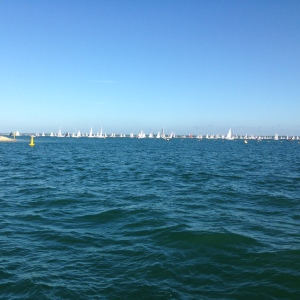 Boats assemble off the Royal Yacht Squadron for the start